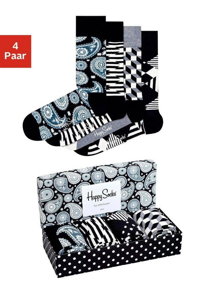 Happy Socks Modische Herrensocken (4 Paar) in der Geschenkbox in schwarz-grau-weiß-gemustert