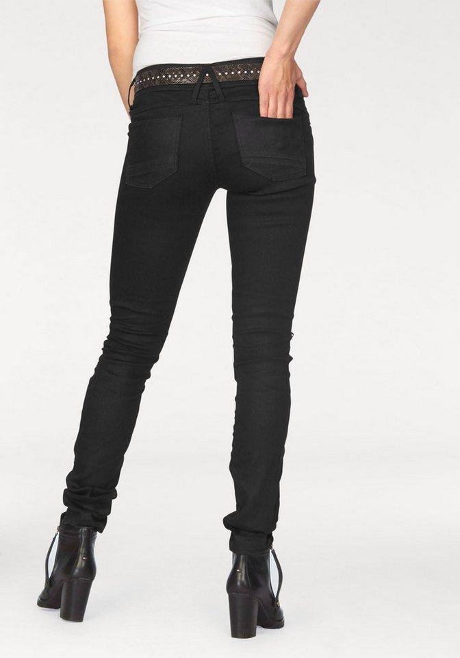 G-Star 5-Pocket-Jeans »Lynn Zip« mit coolen Zipperdetails in maroon-black-denim