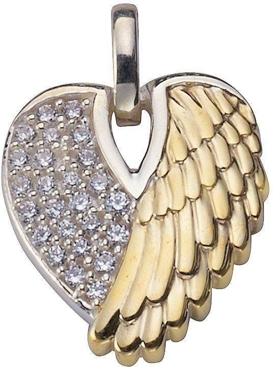 firetti Anhänger »Herz mit Engelsflügel« mit Zirkonia in Silber 925-teilweise goldfarben