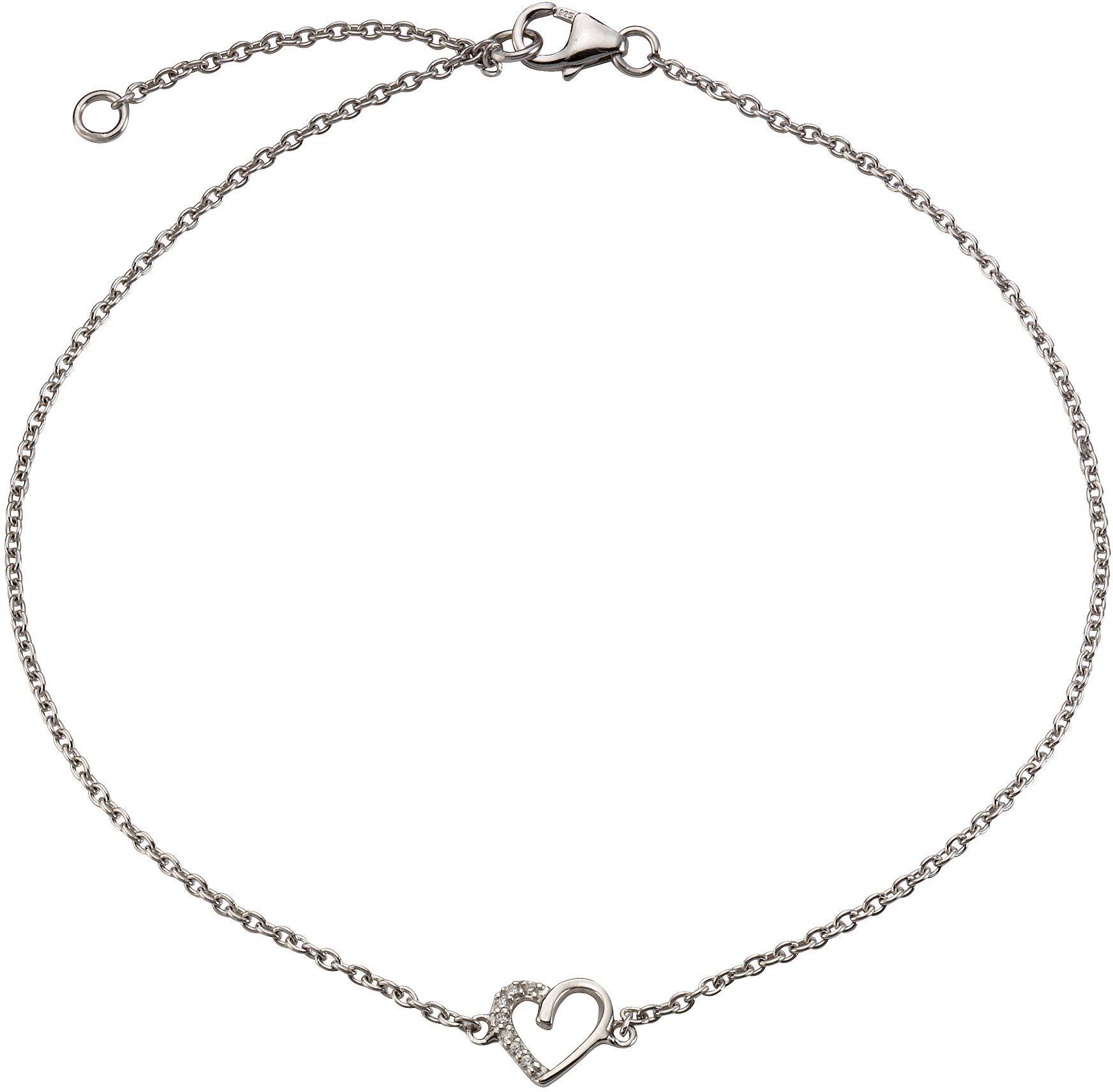 firetti Fußkette »Herz« mit Zirkonia