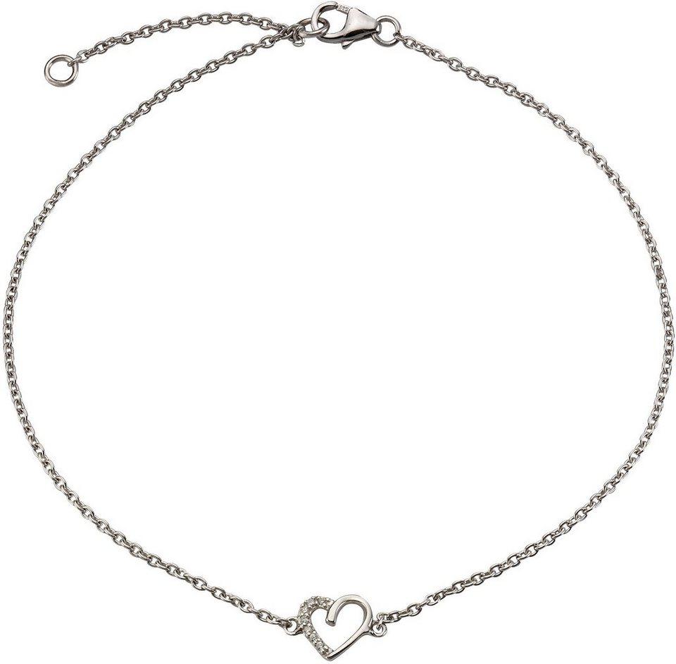 firetti Fußkette »Herz« mit Zirkonia in Silber 925