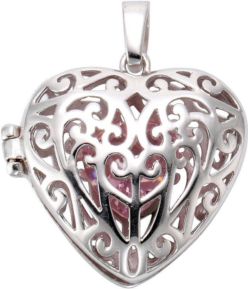firetti Anhänger Medaillon »Herz« mit Zirkonia in Silber 925-pink
