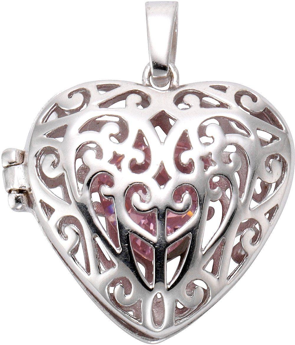 firetti Anhänger Medaillon »Herz« mit Zirkonia