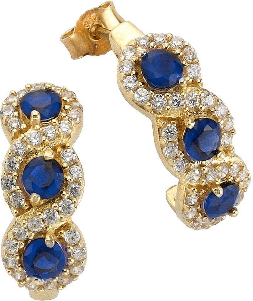 firetti Paar Ohrstecker mit synth. Saphiren und Zirkonia in Silber 925-1 Micron goldfarben vergoldet-blau
