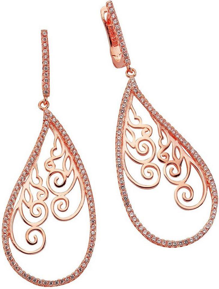 firetti Paar Ohrhänger »Tropfen mit Ornament« mit Zirkonia in Silber 925-1 Micron roségoldfarben vergoldet