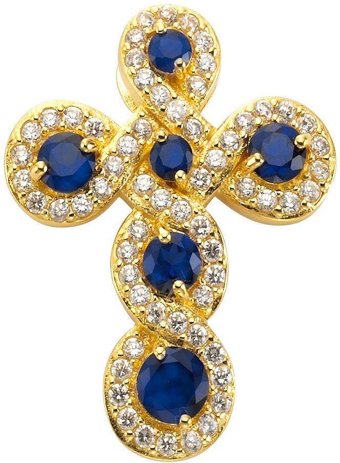 firetti Anhänger »Kreuz« mit synth. Saphiren und Zirkonia in Silber 925-1 Micron goldfarben vergoldet-blau