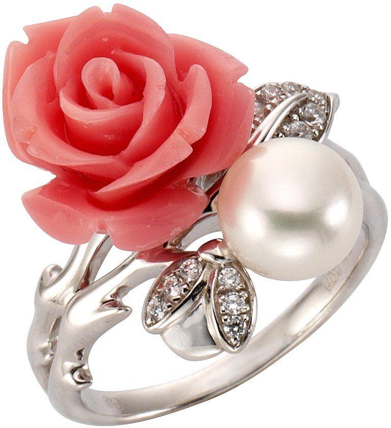 Firetti Fingerring »Rose« mit Zirkonia und Süßwasserzuchtperle