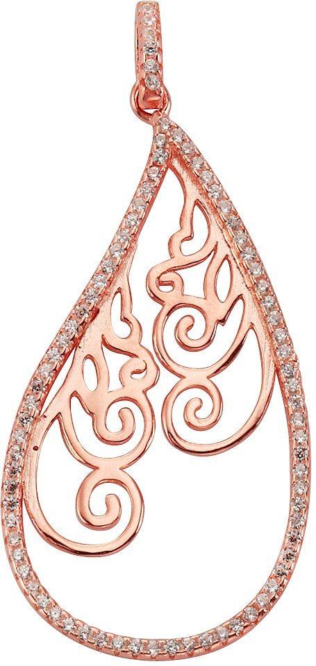 firetti Anhänger »Tropfen mit Ornament« mit Zirkonia in Silber 925-1 Micron roségoldfarben vergoldet