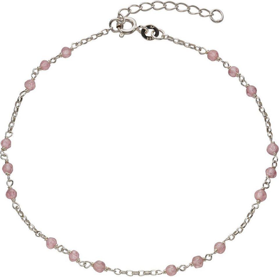 firetti Fußkette mit Kristallsteinen in Silber 925-pink