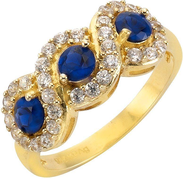 firetti Ring mit synth. Saphiren und Zirkonia in Silber 925-1 Micron goldfarben vergoldet-blau