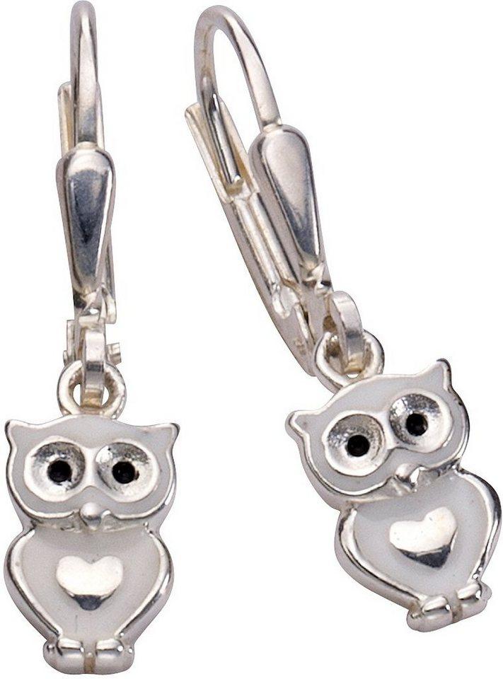 firetti Paar Ohrhänger, »Eule« in Silber 925-weiß-schwarz