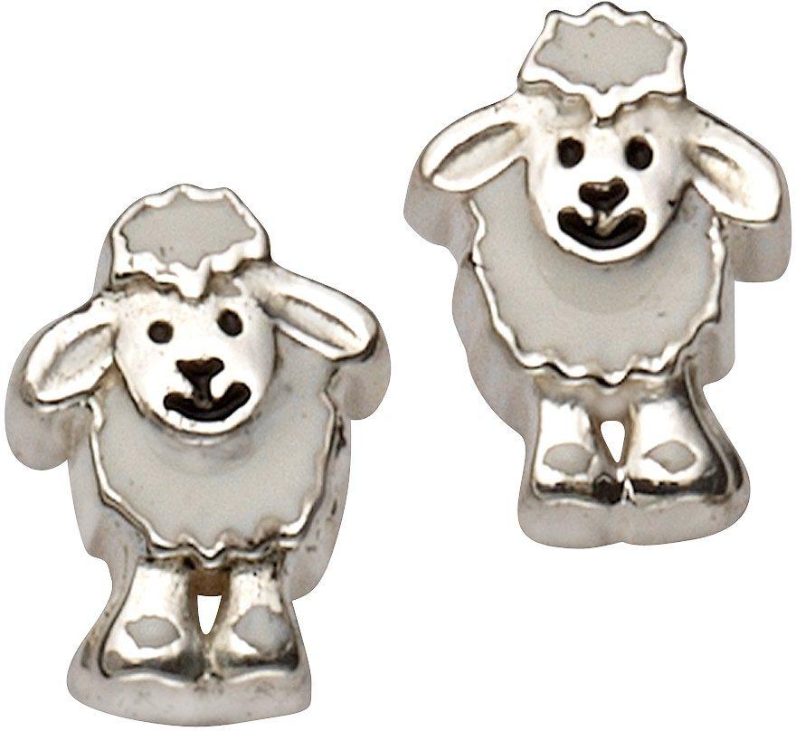 firetti Paar Ohrstecker, »Schäfchen« in Silber 925-weiß-schwarz