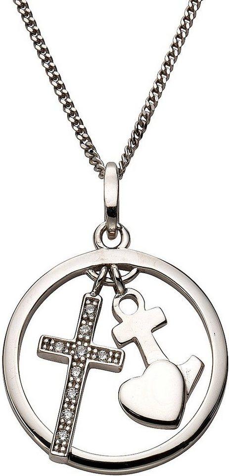 firetti Kette mit Anhänger mit Zirkonia, »Glaube, Liebe, Hoffnung« in Silber 925