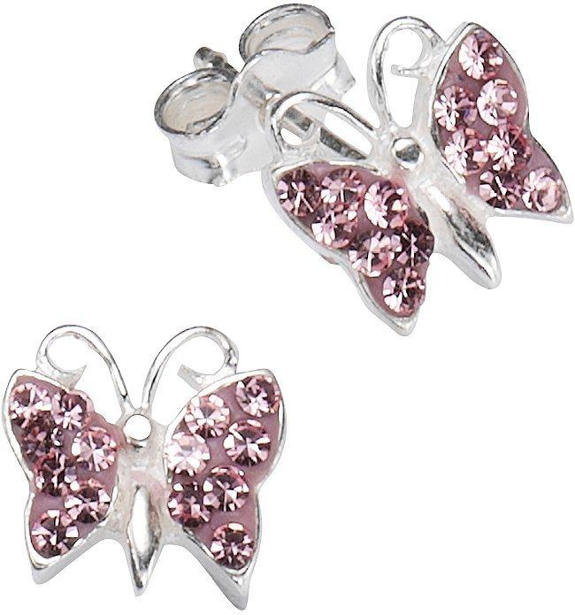 firetti Paar Ohrstecker mit Kristallsteinen, »Schmetterling« in Silber 925-rosa