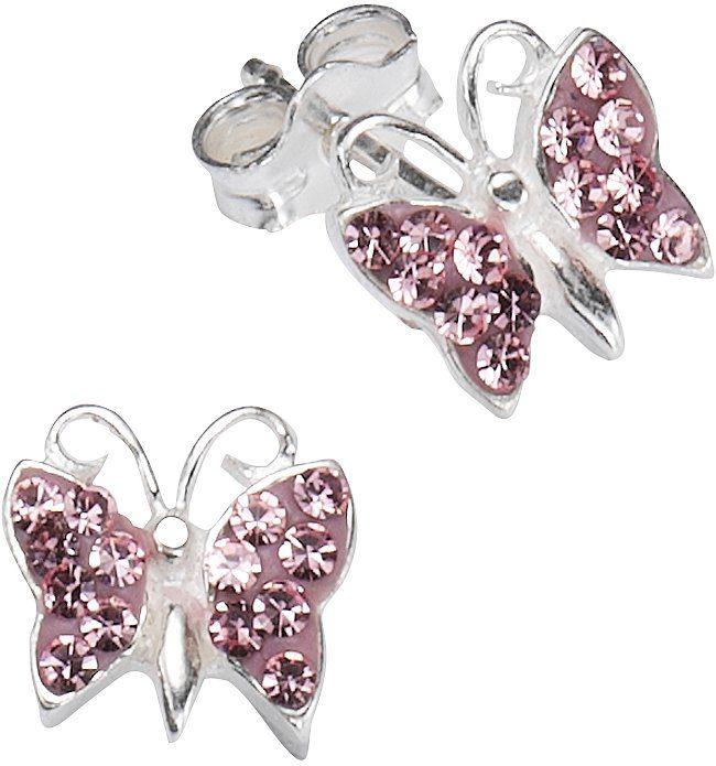 firetti Paar Ohrstecker mit Kristallsteinen, »Schmetterling«