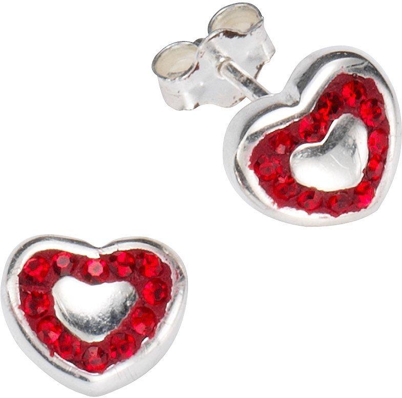 firetti Paar Ohrstecker mit Kristallsteinen, »Herz« in Silber 925-rot