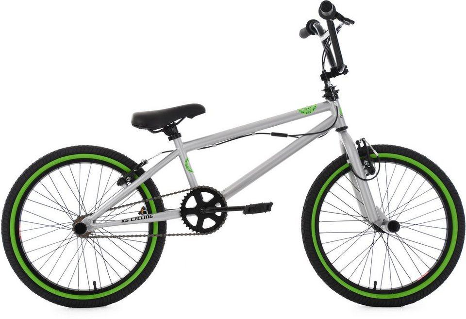 ks cycling bmx fahrrad 20 zoll silberfarben gr n crxx. Black Bedroom Furniture Sets. Home Design Ideas