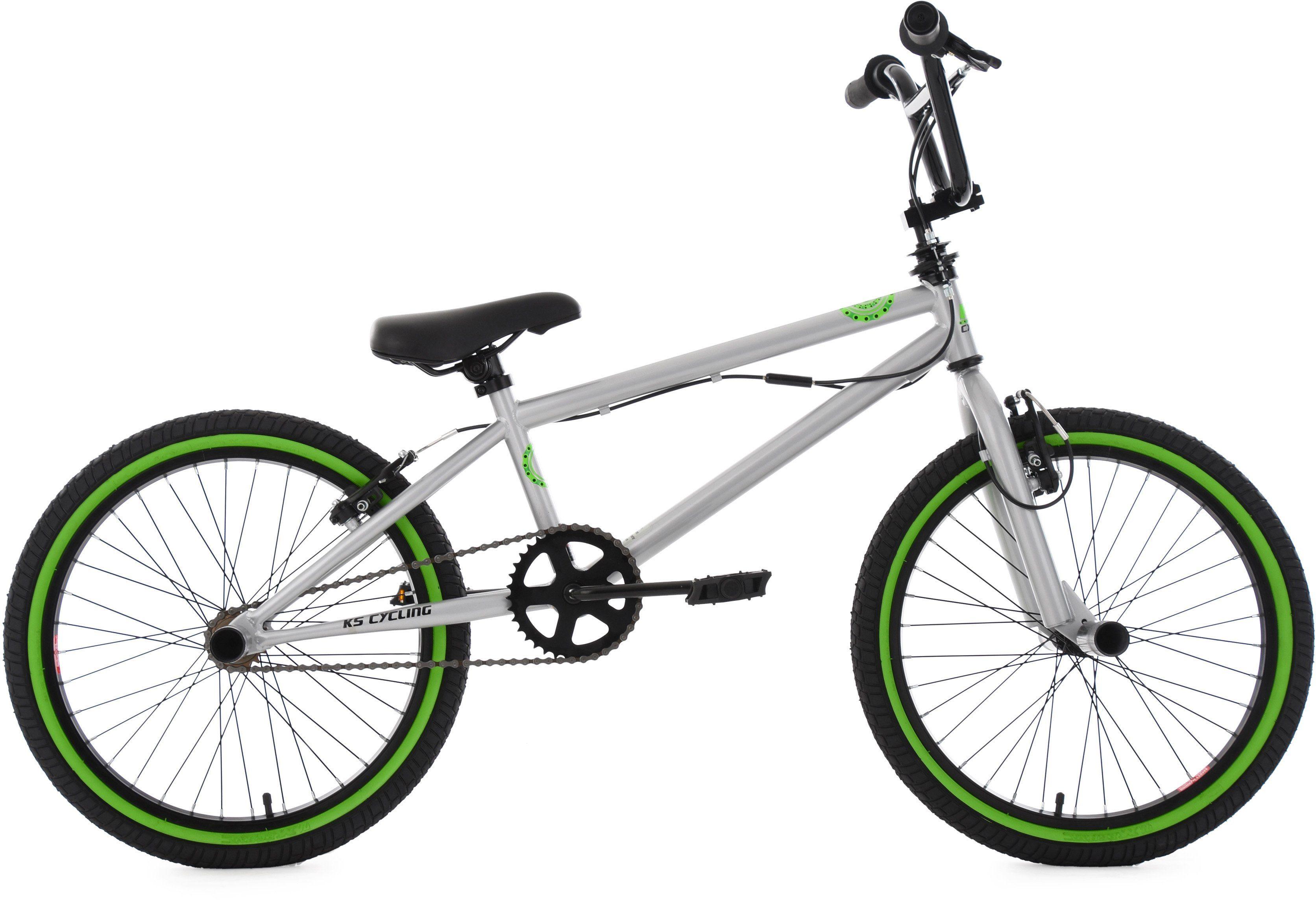 KS Cycling BMX Fahrrad, 20 Zoll, silberfarben-grün, »CRXX«