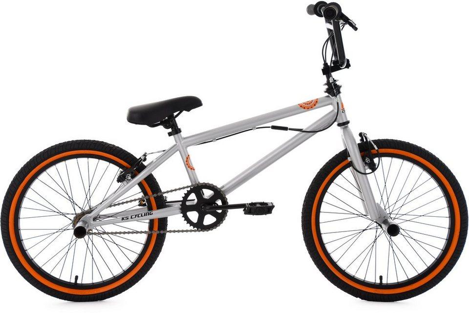KS Cycling BMX Fahrrad, 20 Zoll, silberfarben-orange, »CRXX« in silberfarben-orange