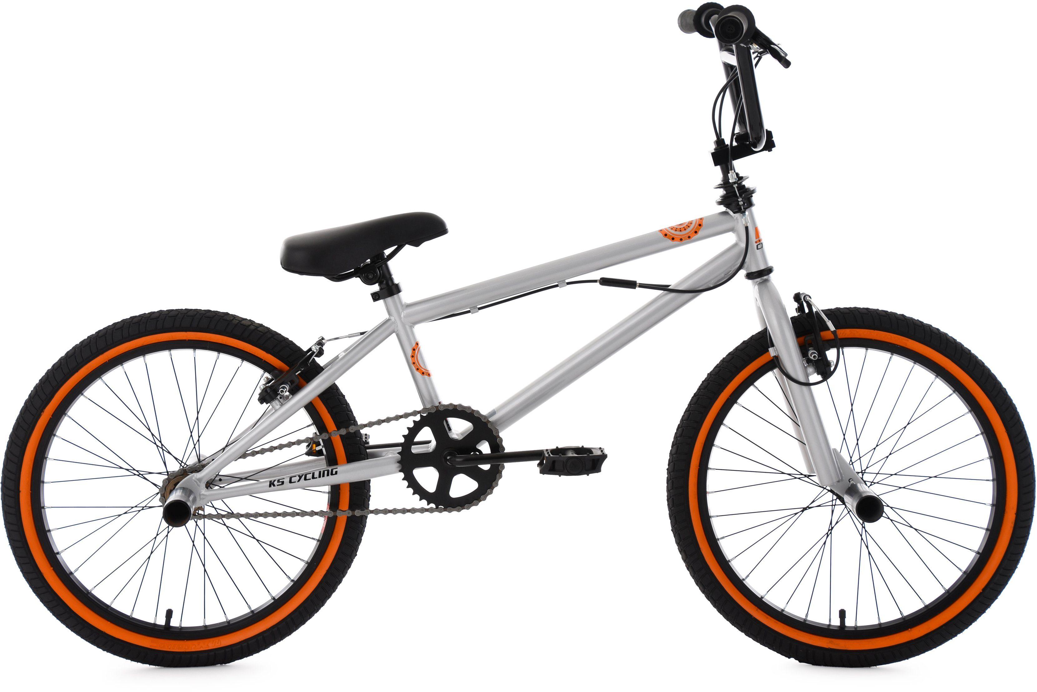 KS Cycling BMX Fahrrad, 20 Zoll, silberfarben-orange, »CRXX«