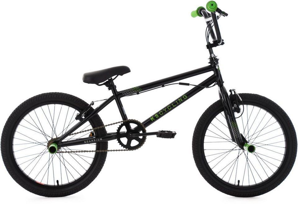 ks cycling bmx fahrrad 20 zoll schwarz gr n scandium. Black Bedroom Furniture Sets. Home Design Ideas