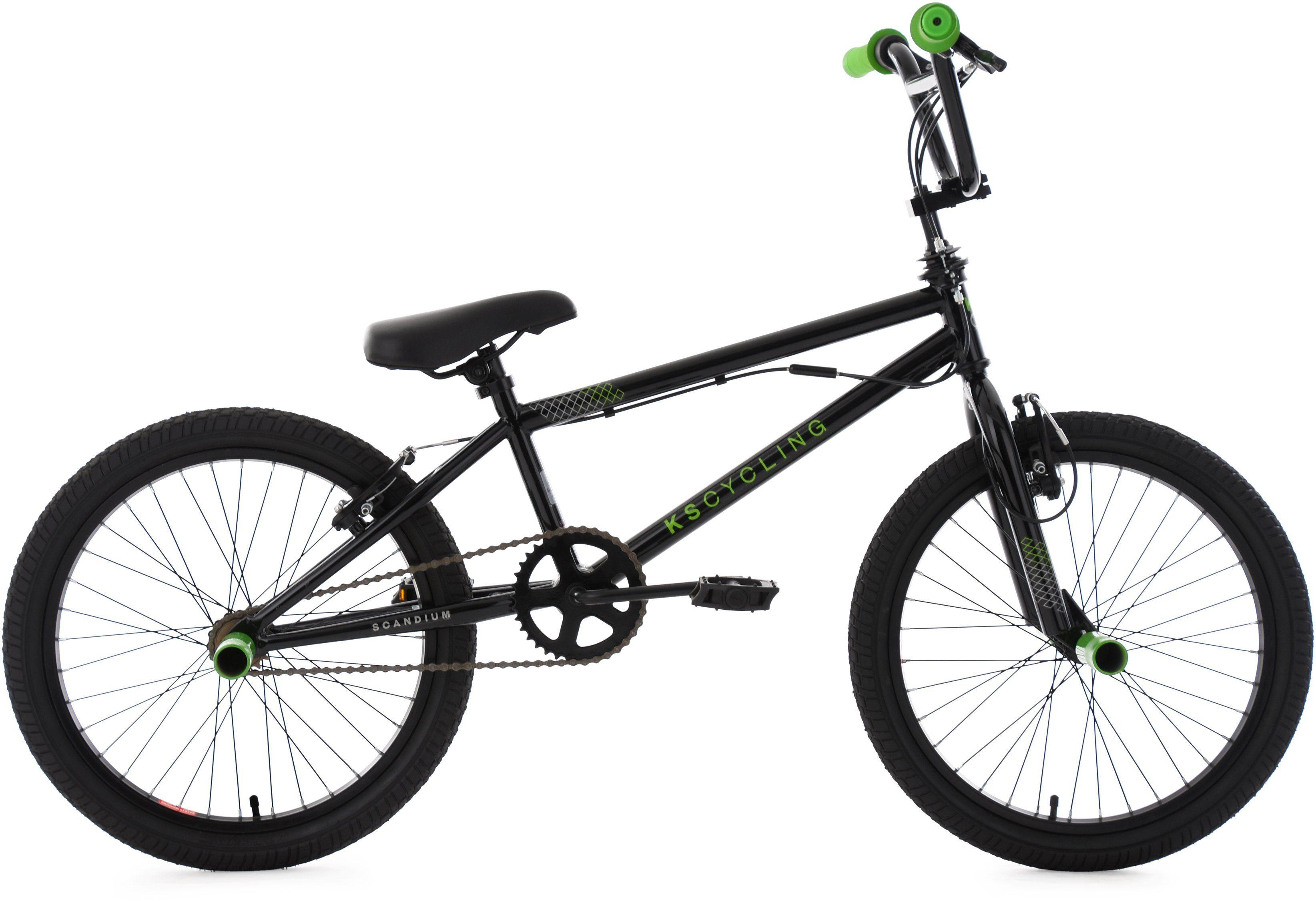 KS Cycling BMX Fahrrad, 20 Zoll, schwarz-grün, »Scandium«