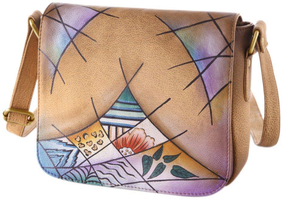 Art & Craft Umhängetasche aus handbemaltem Leder in natur-rauten