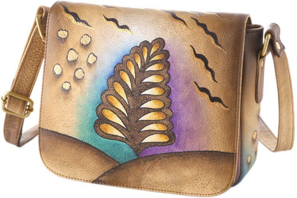 Art & Craft Umhängetasche aus handbemaltem Leder in natur-blätte