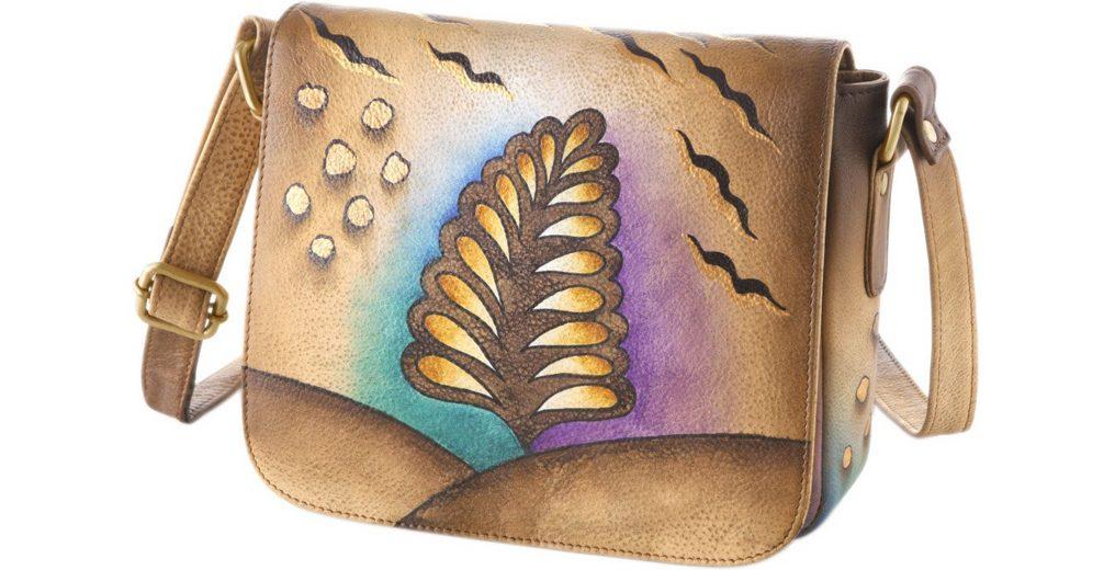 Art & Craft Umhängetasche aus handbemaltem Leder