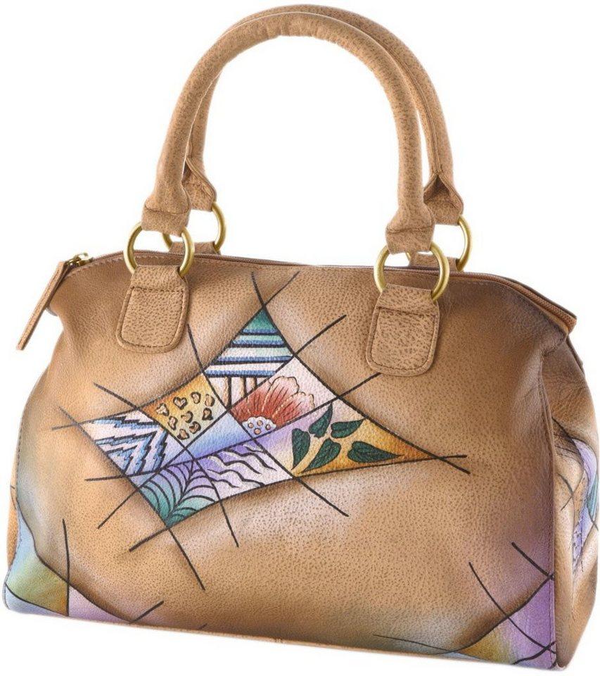 Art & Craft Henkeltasche aus handbemaltem Leder in natur-rauten