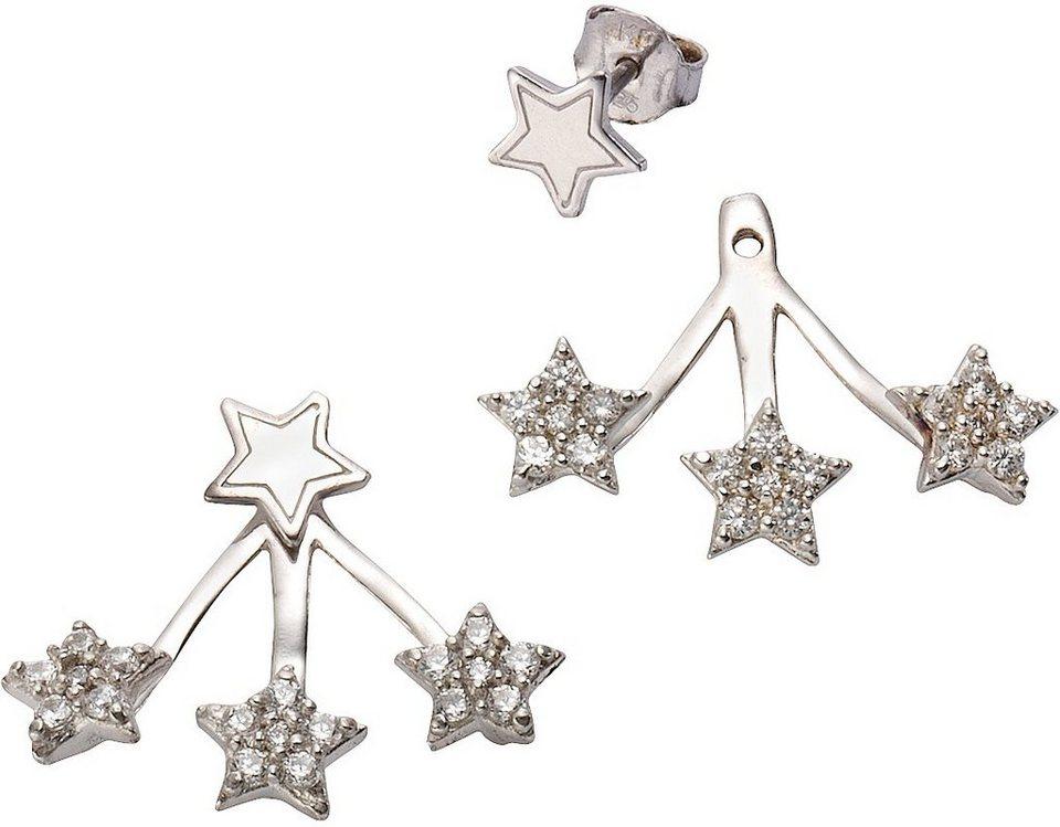 firetti Paar Ohrstecker, mit abnehmbaren Einhängern und Zirkonia, »Sterne« in silber 925