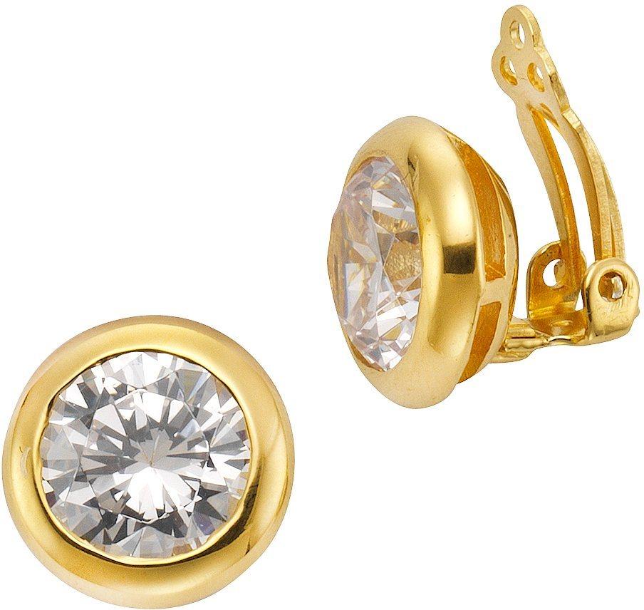 firetti Paar Ohrclips mit Zirkonia in silber 925-1 Micron goldfarben vergoldet