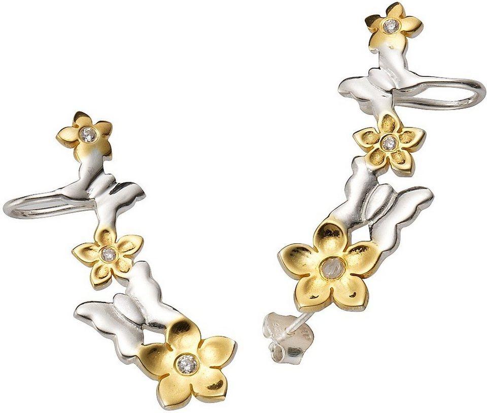 firetti Paar Ohrstecker mit Ohrklemme mit Zirkonia, »Ear Cuffs, Blumen und Schmetterlinge« in silber 925-bicolor