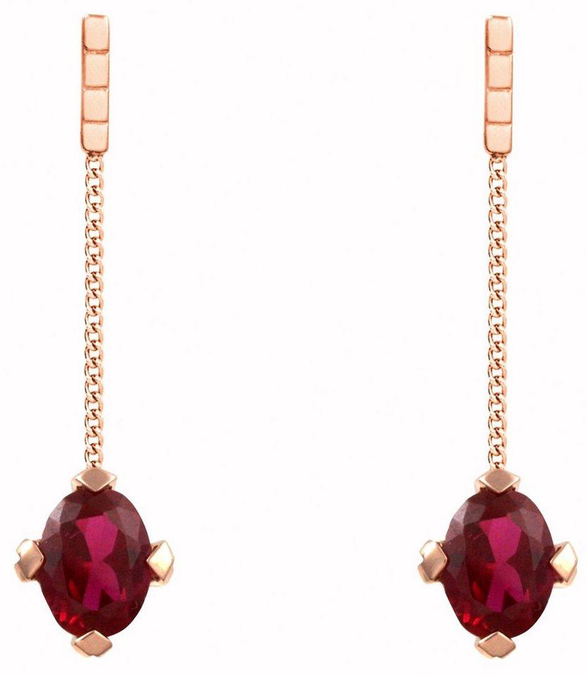 caï Women Paar Ohrstecker »C1669E/90/D1« mit Rubinen in Silber 925-roségoldfarben vergoldet-rot