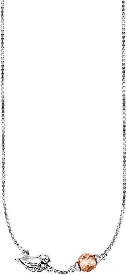 caï Women Kette »Vogel, C1682N/90/A3/45« mit Zirkonia in Silber 925-champagner
