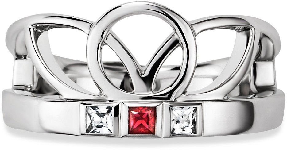 caï Women Ring »C1667R/90/75« mit Rubin und Zirkonia in Silber 925-rot