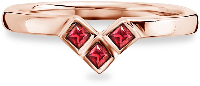 caï Women Ring »C1664R/90/D1« mit Rubinen in Silber 925-roségoldfarben vergoldet-rot