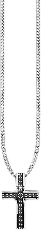 caï Men Kette mit Anhänger mit Spinellen, »Kreuz, C4173N/90/L6/55« in Silber 925-schwarz