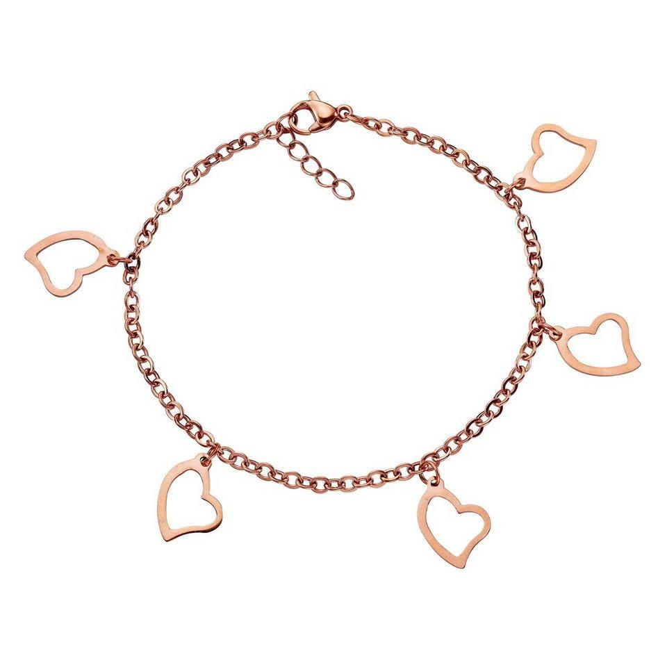 firetti Armband »Herzen« in roségoldfarben