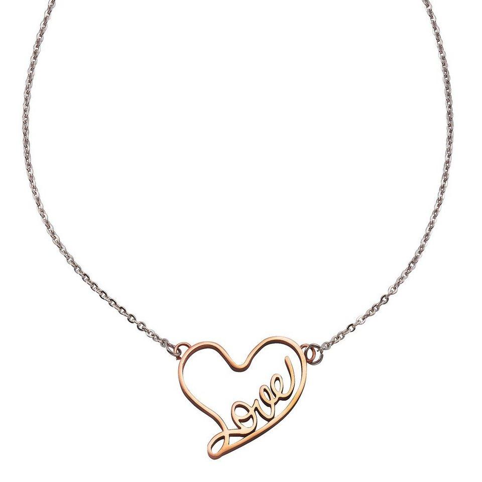 firetti Kette mit Anhänger »Herz mit Schriftzug Love« in silberfarben-roségoldfarben