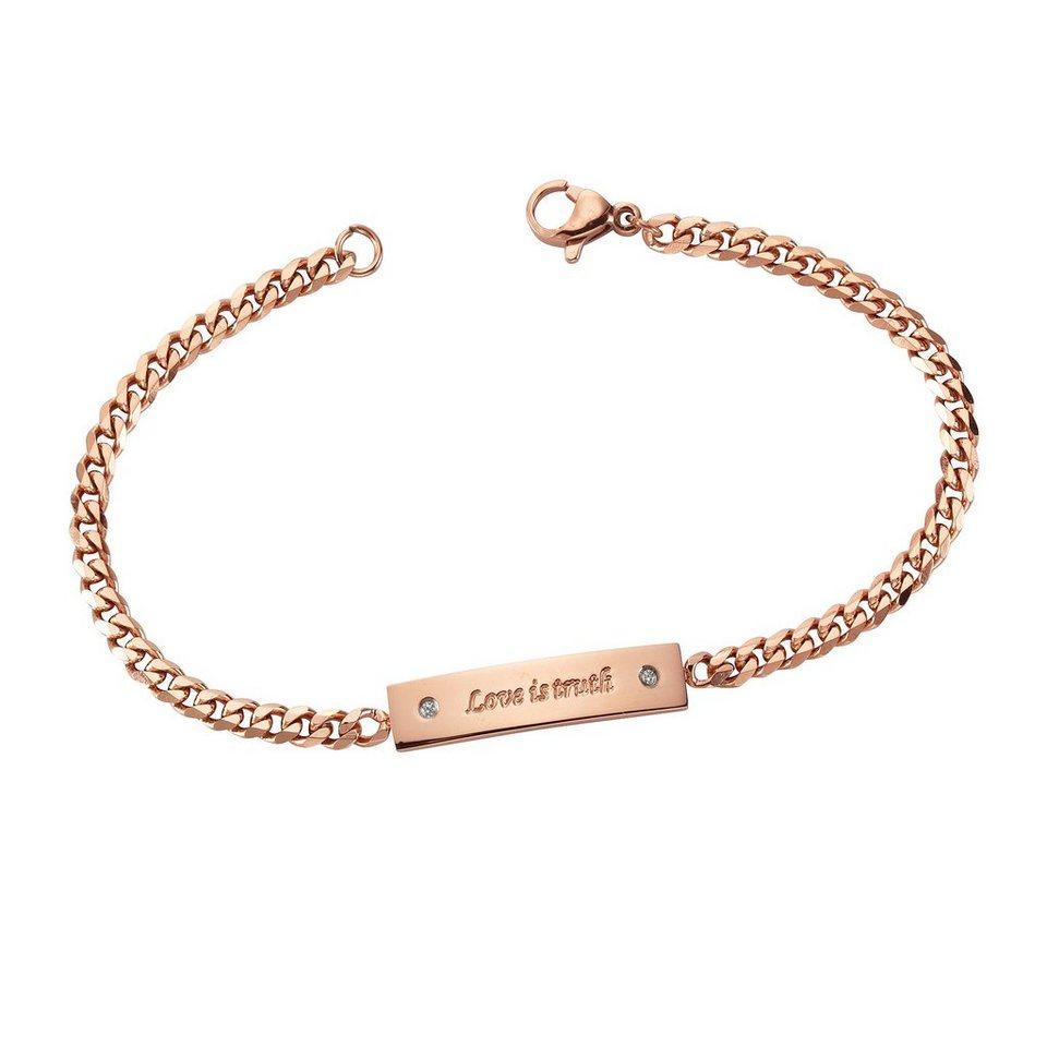 firetti Armband »Love is truth« mit Zirkonia in roségoldfarben