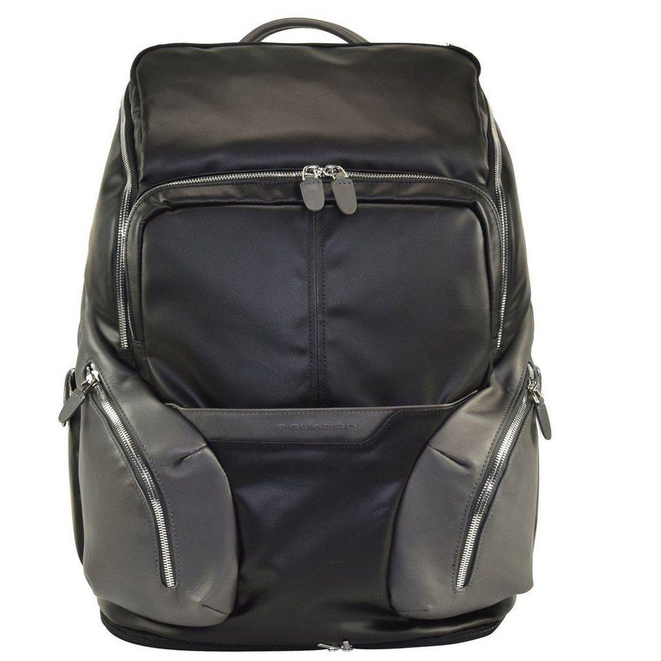 Piquadro Coleos Rucksack Leder 46 cm Laptopfach in black