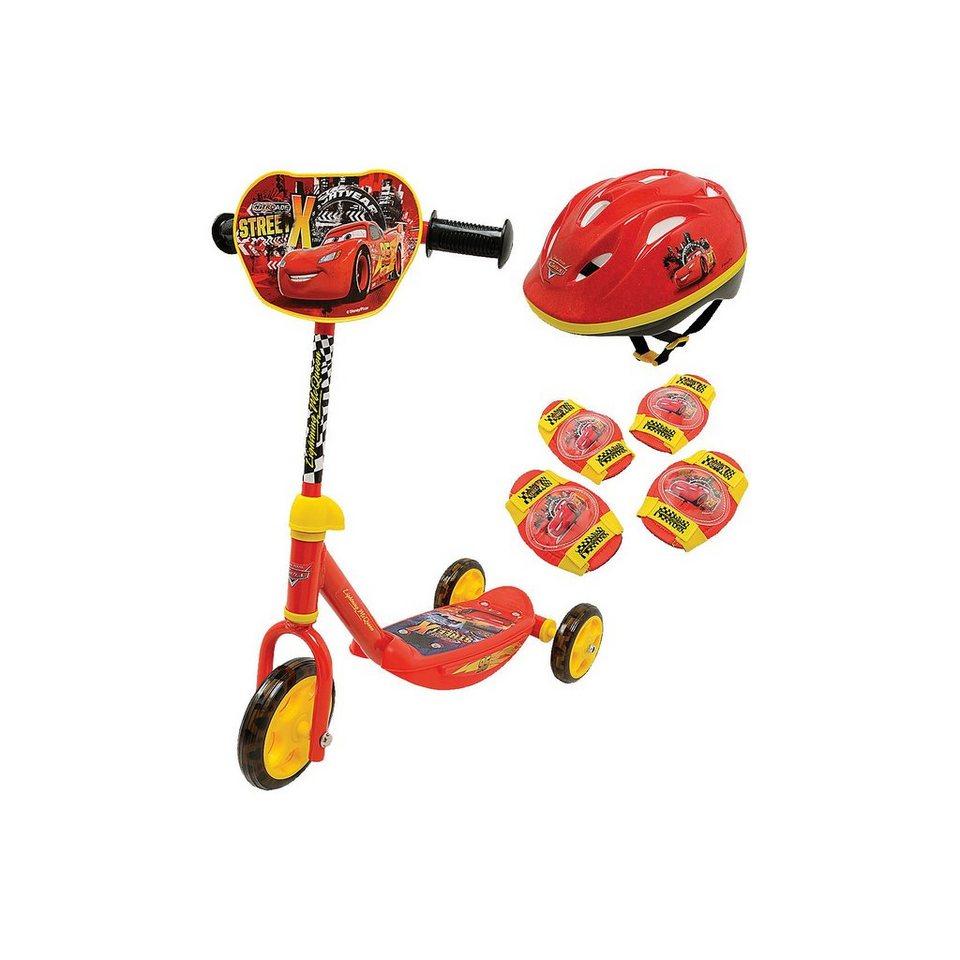 Smoby Cars Roller mit Helm, Ellenbogen- und Knieschützern in rot