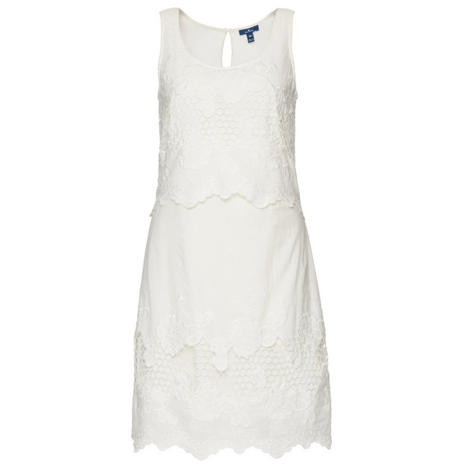 TOM TAILOR Kleid »embroidered summer dress« in whisper white