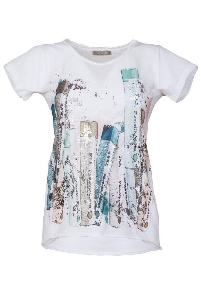 TUZZI Shirt mit Pastell-Print und Foil in white figured