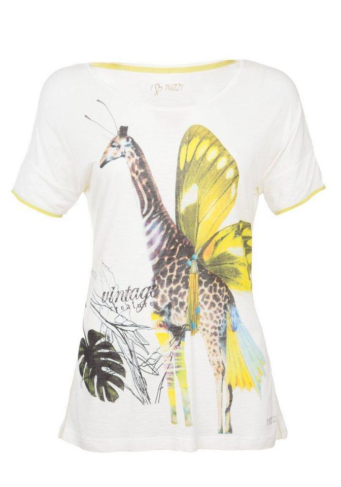 TUZZI Shirt mit Giraffen-Print und Kontra in multicoloured