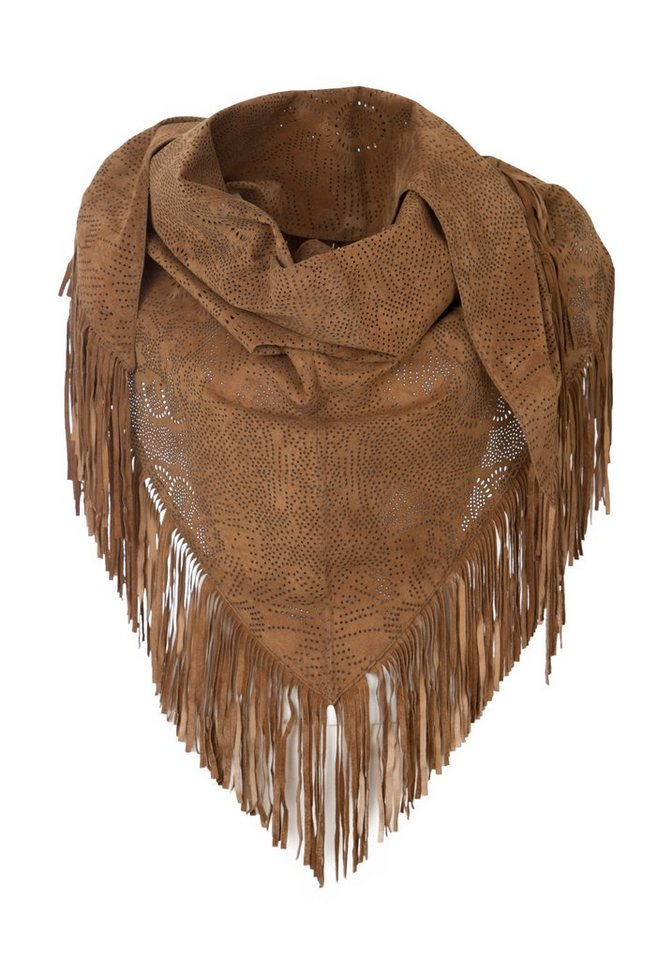 TUZZI Lederponcho mit Stanzmuster in cognac