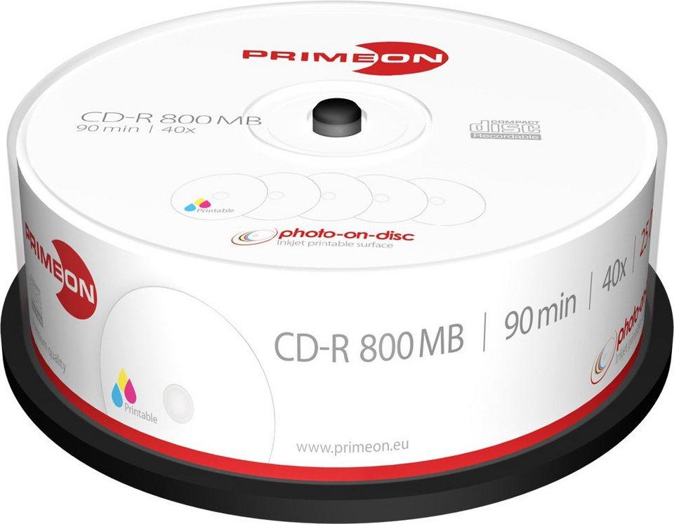 PRIMEON CD-R 90Min/800MB/40x Cakebox (25 Disc) in white