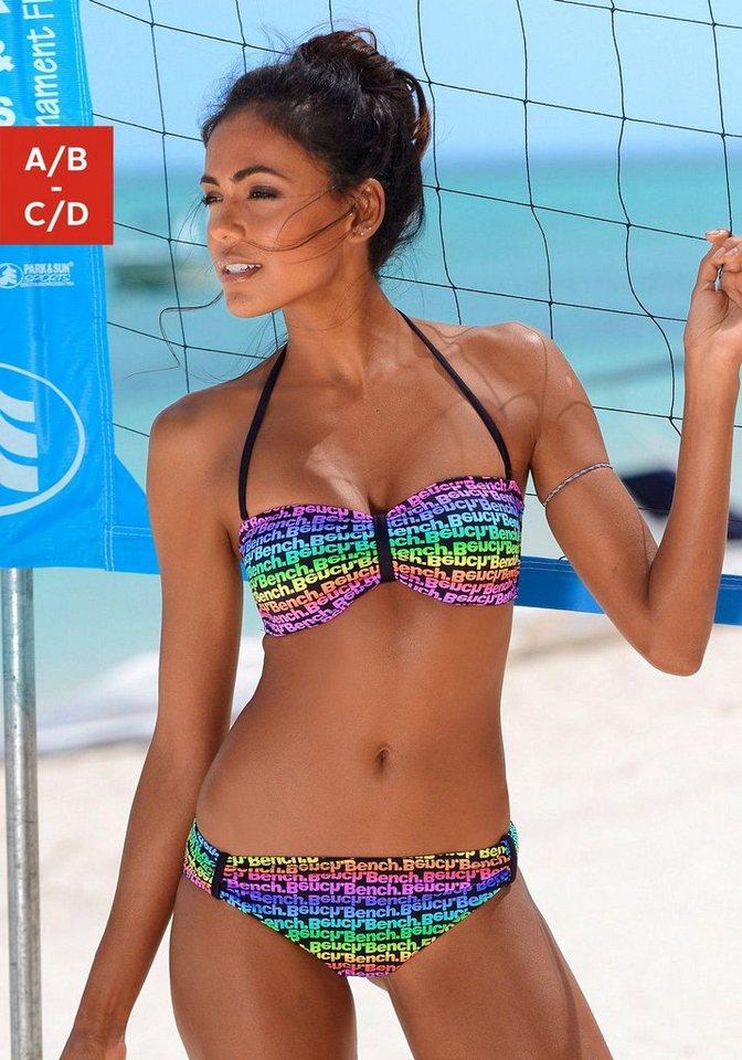 Bandeau-Bikini, Bench in bunt bedruckt