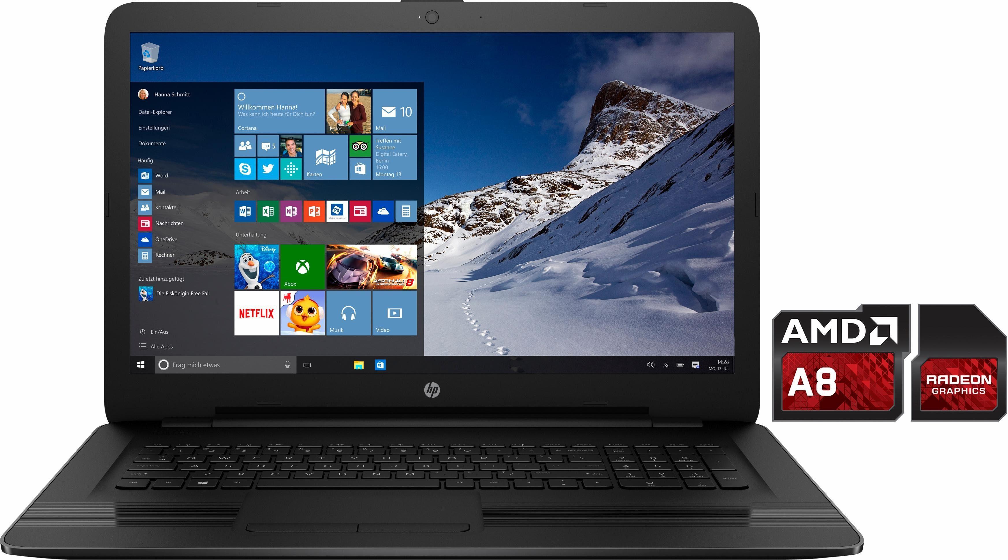 HP 17-y012ng Notebook, AMD A8, 43,9 cm (17,3 Zoll), 1000 GB Speicher, 8192 MB DDR3L-SDRAM